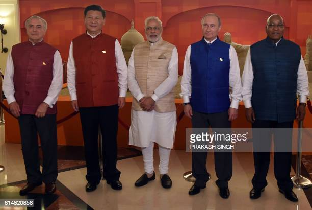 TOPSHOT Brazilian President Michel Temer Chinese President Xi Jinping Indian Prime Minister Narendra Modi Russian President Vladimir Putin and South...