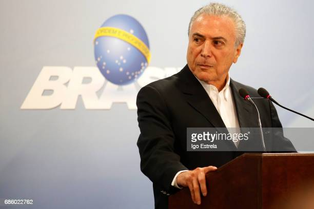 Brazilian President Michel Temer delivers a new statement following the release of a tape allegedly demonstrating him condoning bribery payments to...