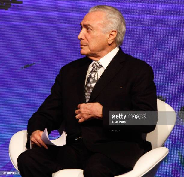 Brazilian President Michel Temer delivers a speech during the BrazilArab Economic Forum held at the Hotel Unique in Sao Paulo on 2 April 2018
