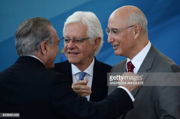 Brazilian President Michel Temer his outgoing Minister of Government Secretariat Wellington Moreira Franco and the Supreme Labour Court President...