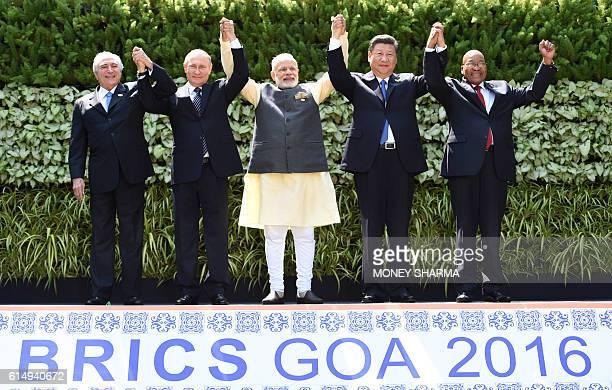 Brazilian President Michel Temer, Russian President Vladimir Putin, Indian Prime Minister Narendra Modi, Chinese President Xi Jinping and South...