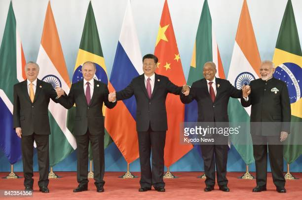 Brazilian President Michel Temer Russian President Vladimir Putin Chinese President Xi Jinping South African President Jacob Zuma and Indian Prime...