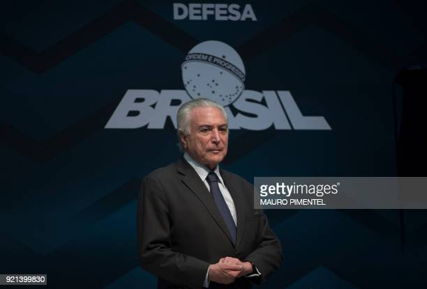 Brazilian President Michel Temer speaks during an event announcing the beginning of the final stage of the submarines construction planned by the...