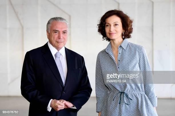 Brazilian President Michel Temer welcomes UNESCO General Director Audrey Azoulay before the opening ceremony of the 8th World Water Forum at...