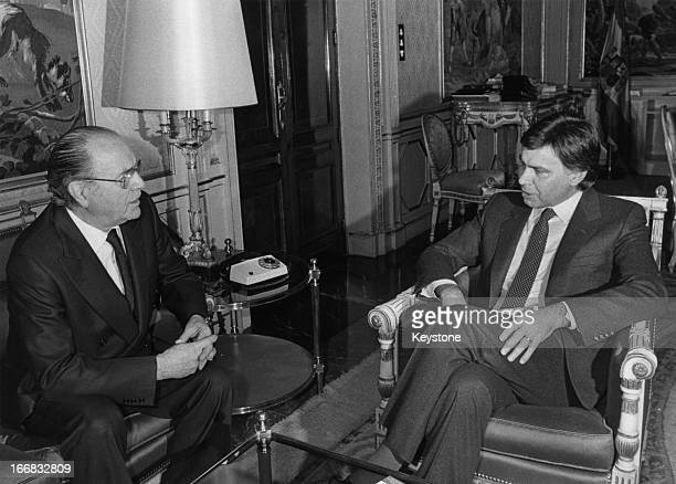Brazilian Presidentelect Tancredo Neves with Spanish Prime Minister Felipe Gonzalez at the Palace of Moncloa in Madrid during a visit to Spain by the...