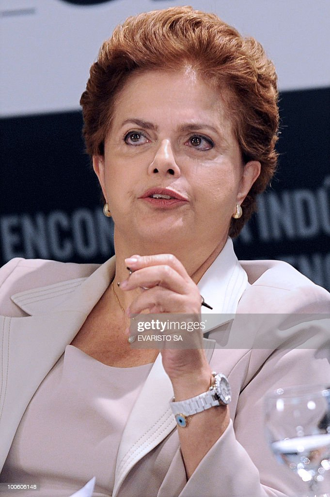 Brazilian Presidential candidate Dilma Rousseff, from the Workers Party (PT) during a debate with businessmen in Brasilia, on May 25, 2010. Brazil's presidential election will be held October 3, with a run-off between the top two candidates on October 31 if one does not get more than half of the vote. AFP PHOTO/Evaristo SA