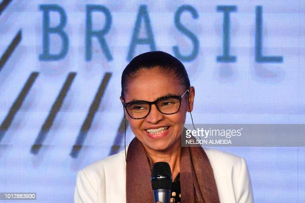 Brazilian presidential candidate for the REDE party Marina Silva speaks during a technological forum in Sao Paulo Brazil on August 7 2018