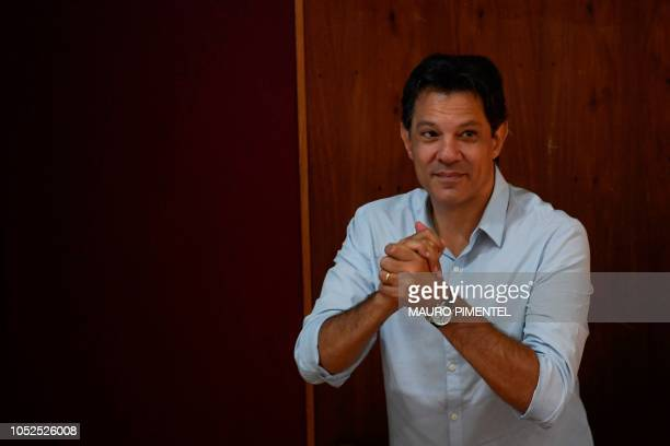 Brazilian presidential candidate for the Workers Party Fernando Haddad gestures during a visit to the Engineering Club in Rio de Janeiro Brazil on...