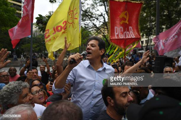 Brazilian presidential candidate for the Workers Party Fernando Haddad speaks during a rally in Buraco do Lume Square downtown Rio de Janeiro Brazil...