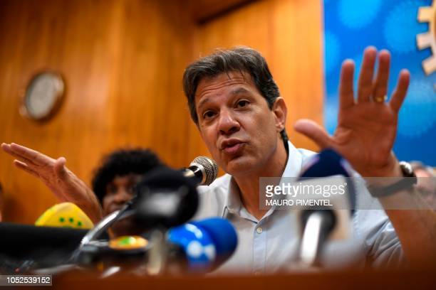 Brazilian presidential candidate for the Workers Party Fernando Haddad during a visit to the Engineering Club in Rio de Janeiro Brazil on October 19...