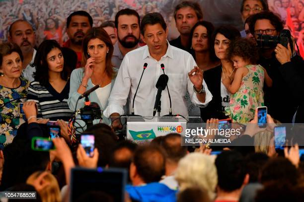 Brazilian presidential candidate for the Workers' Party Fernando Haddad delivers a speech in Sao Paulo Brazil after official results gave candidate...