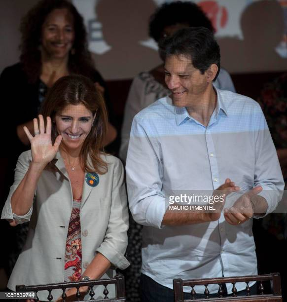 Brazilian presidential candidate for the Workers Party Fernando Haddad and his wife Ana Estela Haddad visit the Engineering Club in Rio de Janeiro...
