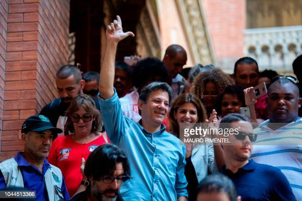 Brazilian presidential candidate for the Workers Party Fernando Haddad makes the 'L' sign referring to Brazilian former president Luiz Inacio Lula Da...