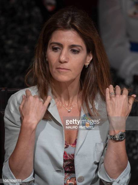 Brazilian presidential candidate for the Workers Party Fernando Haddad's wife Ana Estela Haddad is pictured during their visit to the Engineering...