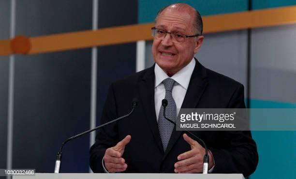 Brazilian presidential candidate Geraldo Alckmin speaks during the third presidential debate ahead of the October 7 general election at Gazeta TV...