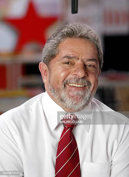 Brazilian presidential candidate of the Workers Party Luiz Inacio Lula da Silva pauses during a taping of a television advertisement for his...
