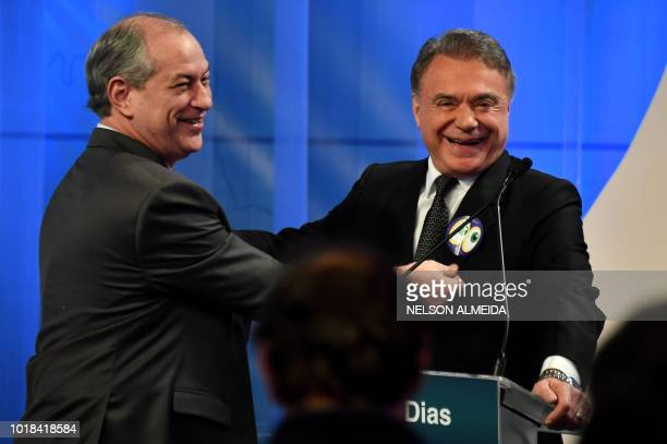 Brazilian presidential candidates Alvaro Dias and Geraldo Alckmin are pictured during the second presidential debate ahead of the October 7 general...