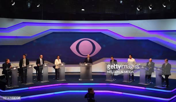 Brazilian presidential candidates Alvaro Dias Cabo Daciolo Geraldo Alkmin Marina Silva moderator journalist Ricardo Boechat Jair Bolsonaro Guilherme...