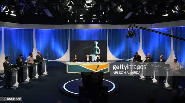 Brazilian presidential candidates Cabo Daciolo Jair Bolsonaro Guilherme Boulos Ciro Gomes moderators journalists Amanda Klein Boris Casoy and Mariana...
