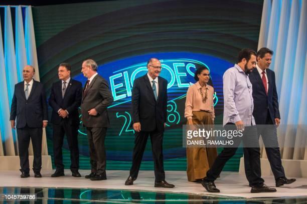 Brazilian presidential candidates Henrique Meirelles Alvaro Dias Ciro Gomes Geraldo Alckmin Marina Silva Guilherme Boulos and Fernando Haddad are...