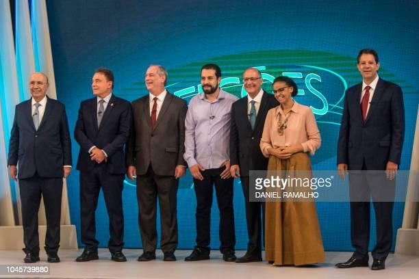 Brazilian presidential candidates Henrique Meirelles Alvaro Dias Ciro Gomes Guilherme Boulos Geraldo Alckmin Marina Silva and Fernando Haddad take...