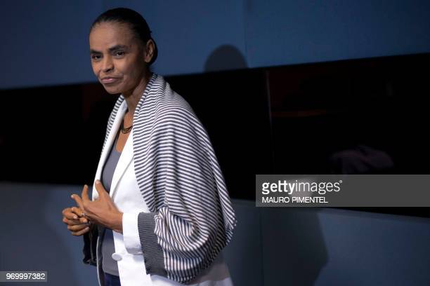 Brazilian presidential precandidate for the REDE party Marina Silva attends during a press conference in Rio de Janeiro Brazil on June 8 2018