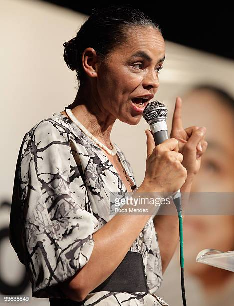 Brazilian presidential precandidate Marina Silva of Partido Verde sepask during the party's convention during which her candidature in the 2010...