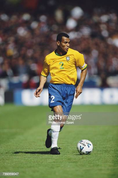 Brazilian professional footballer and defender with the Brazil national football team Cafu pictured with the ball during the International Friendly...