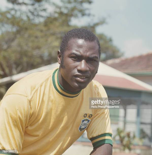 Brazilian professional footballer and forward with the Brazil national football team Jonas Eduardo Americo posed in 1970 Edu would go on to play for...