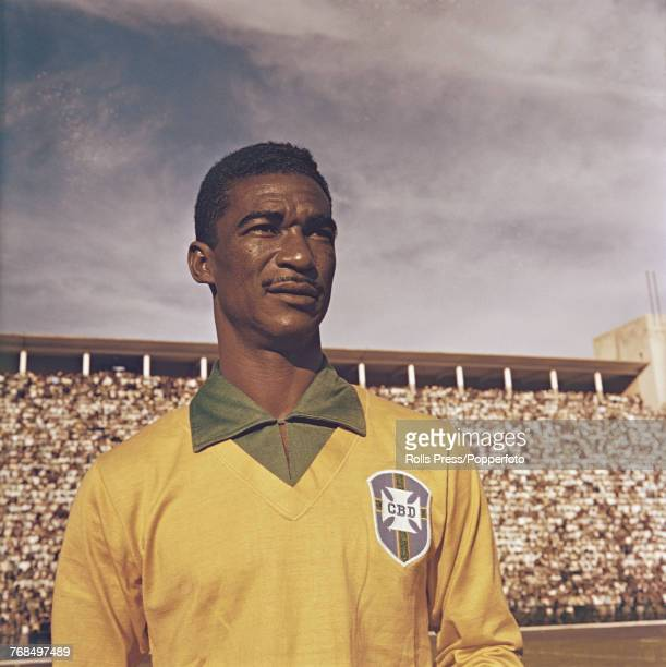 Brazilian professional footballer and half back with the Brazil national football team Didi pictured on the pitch prior to a Brazil international...