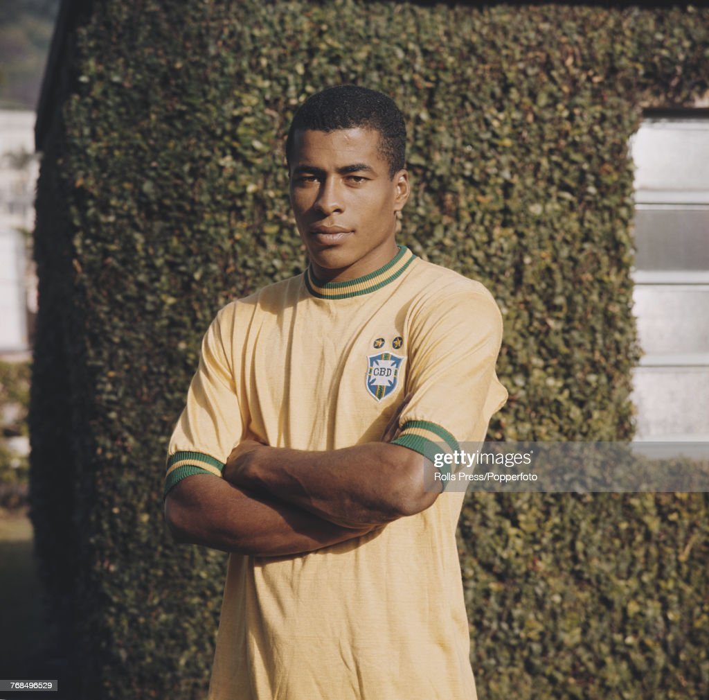 Brazilian professional footballer and midfielder / winger with the Brazil national football team, Jairzinho posed in 1970. Jairzinho would go on to play for the victorious Brazil national team in the 1970 FIFA World Cup finals in Mexico.