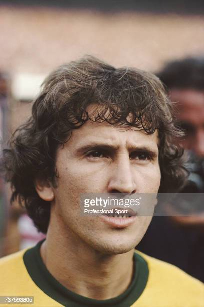 Brazilian professional footballer and midfielder with the Brazil national football team Zico pictured during the 1982 FIFA World Cup tournament in...