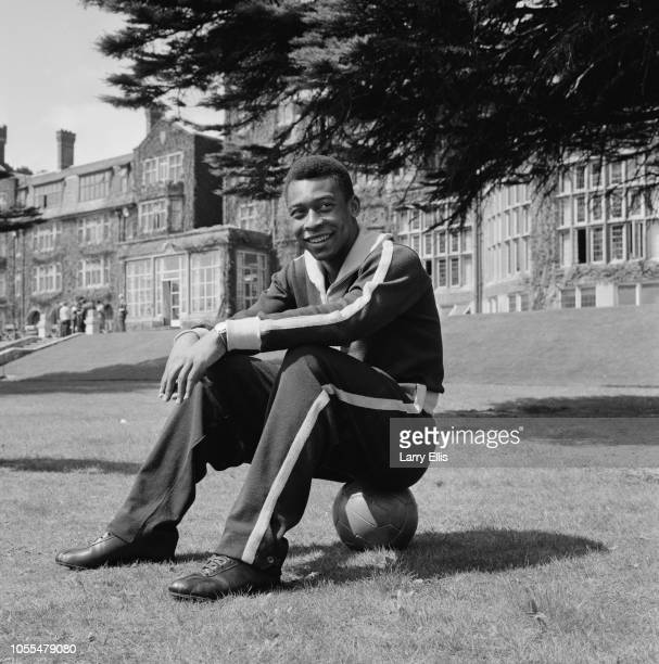 Brazilian professional footballer Pele pictured in the grounds of a Surrey hotel the day before the Brazil national team's International Friendly...