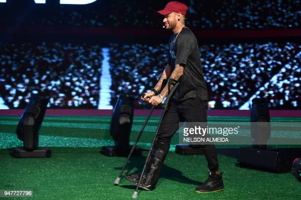 TOPSHOT Brazilian PSG's footballer Neymar Junior promotes Chinese consumer electronic brand TCL at a promotional event for the media in Sao Paulo...