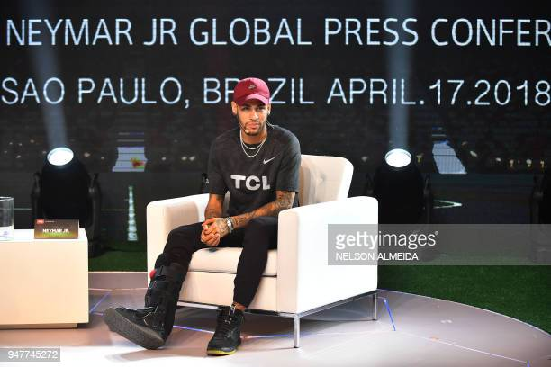 TOPSHOT Brazilian PSG's footballer Neymar Junior takes part in a promotional event of the Chinese consumer electronic brand TCL for the media in Sao...