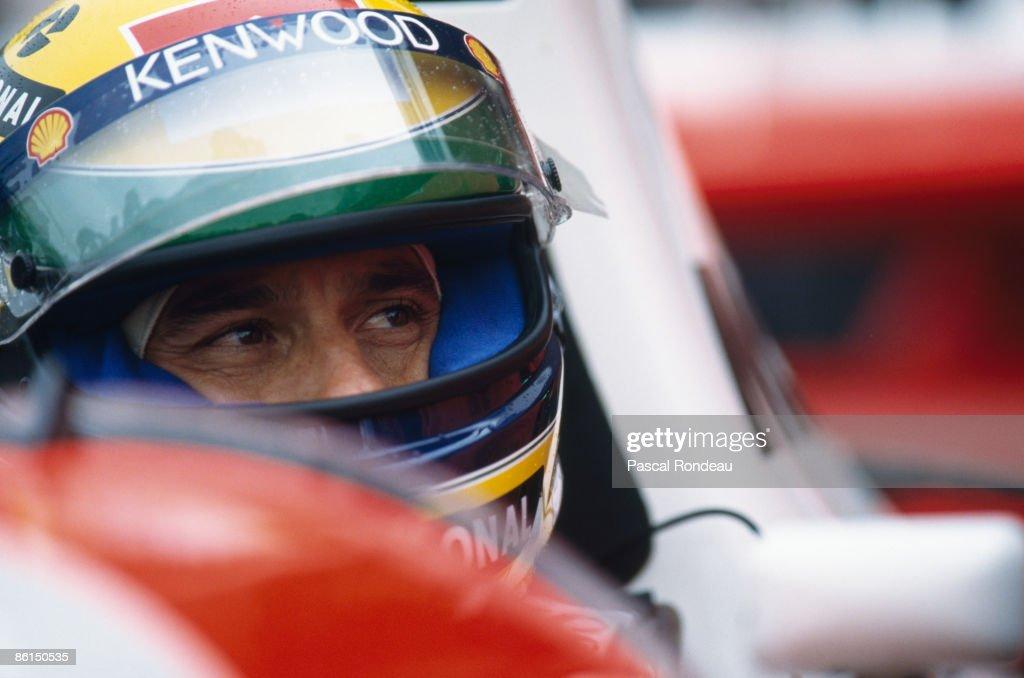 Brazilian racing driver Ayrton Senna (1960 - 1994) at the European Grand Prix at Donnington Park, 11th April 1993. Senna won the race in a McLaren-Cosworth.