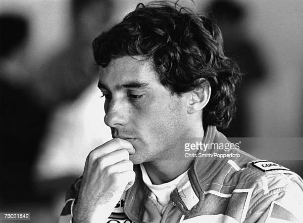 Brazilian racing driver Ayrton Senna circa 1985