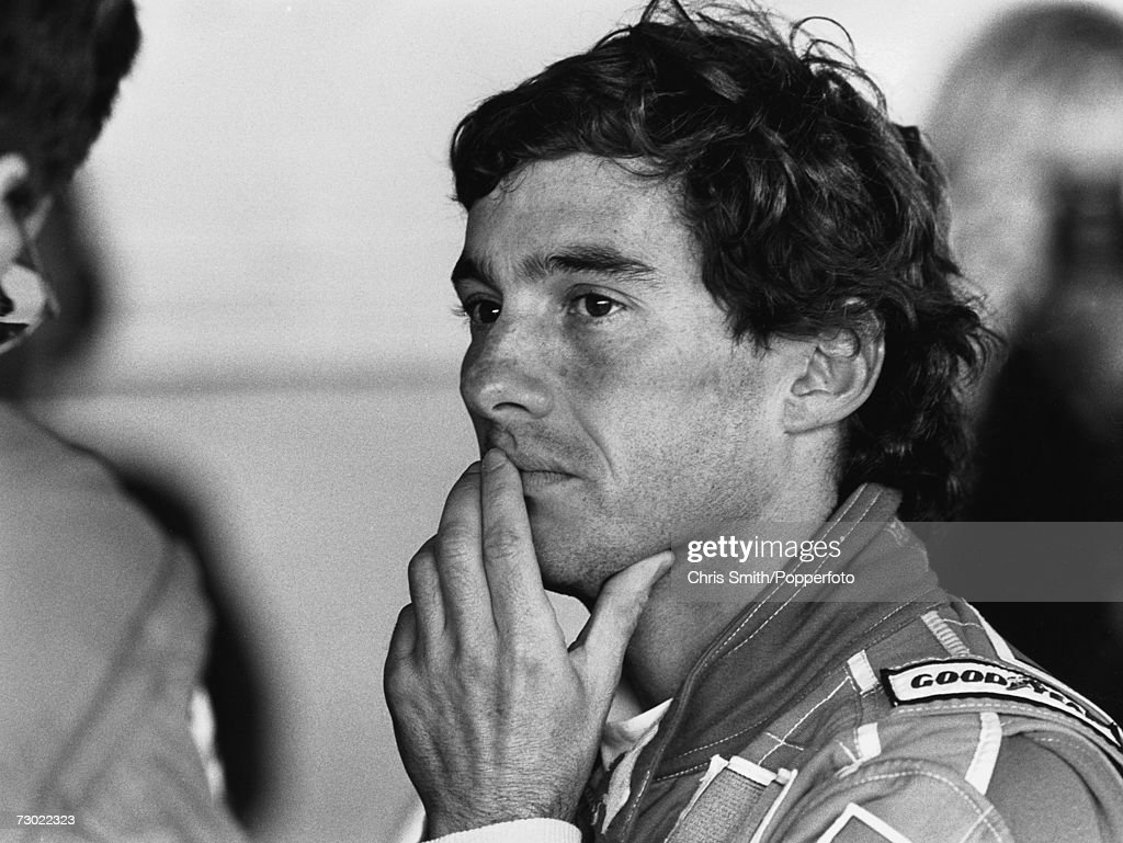 Brazilian racing driver Ayrton Senna (1960 - 1994), circa 1985.