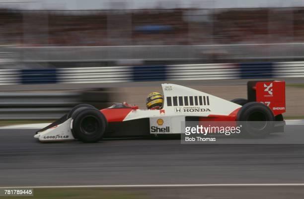 Brazilian racing driver Ayrton Senna drives the Honda Marlboro McLaren McLaren MP4/5B Honda RA109E 35 V10 to finish in third place in the 1990...