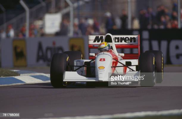 Brazilian racing driver Ayrton Senna drives the Marlboro McLaren McLaren MP4/8 Ford HBE7 35 V8 to finish in first place to win the 1993 European...