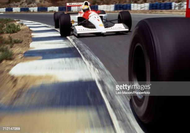Brazilian racing driver Ayrton Senna driving a Honda Marlboro McLaren McLaren MP4/6 Honda RA121E 35 V12 racing car seen from an incar camera during...