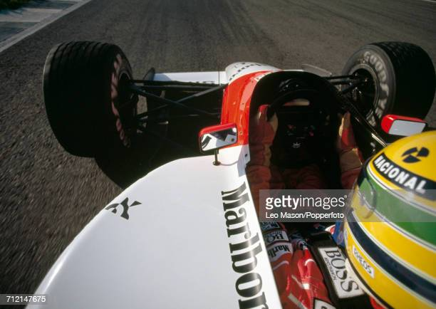 Brazilian racing driver Ayrton Senna driving a Honda Marlboro McLaren McLaren MP4/6 Honda RA121E 35 V12 racing car seen from an incar camera during...
