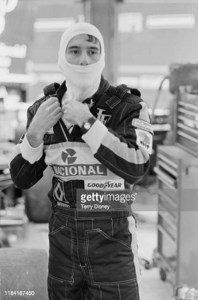 Brazilian racing driver Ayrton Senna of John Player Special Team Lotus during preparations for the Belgian Grand Prix at the SpaFrancorchamps circuit...