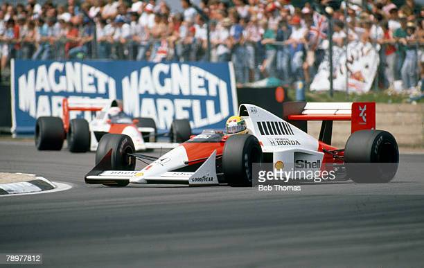 Brazilian racing driver Ayrton Senna spins the Honda Marlboro McLaren McLaren MP4/5 Honda RA109A 35 V10 on a bend during the 1989 British Grand Prix...