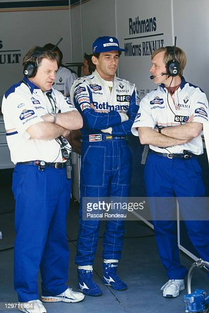 Brazilian racing driver Ayrton Senna with members of the Williams team at the Pacific Grand Prix at the TI Circuit in Aida Japan 17th April 1994 This...
