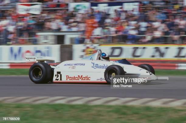 Brazilian racing driver Chico Serra drives the Fittipaldi Automotive Fittipaldi F8C Cosworth V8 during qualification for the 1981 British Grand Prix...