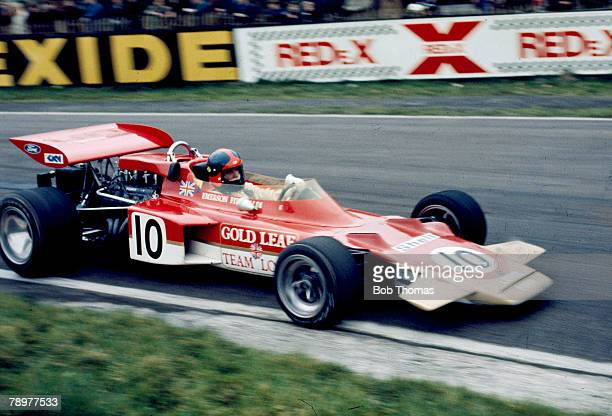 Brazilian racing driver Emerson Fittipaldi drives the Gold Leaf Team Lotus Lotus 72C to finish in 7th place in the 1971 Spring Trophy at Oulton Park...