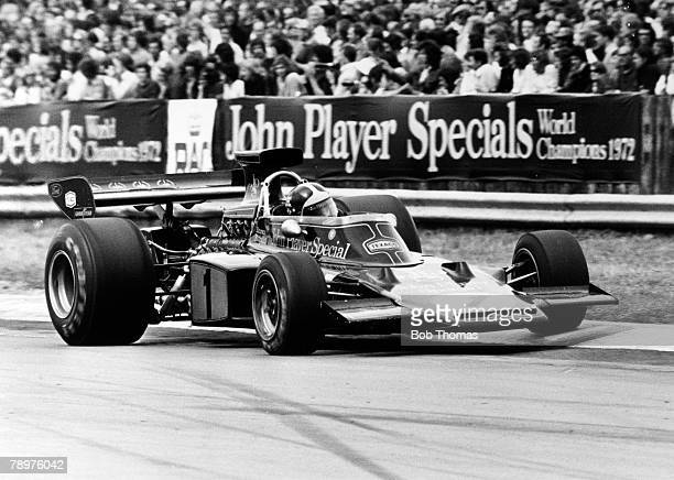 Brazilian racing driver Emerson Fittipaldi drives the John Player Team Lotus Lotus 72E Ford V8 in the 1973 British Grand Prix at Silverstone Circuit...