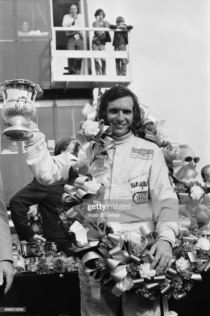 Brazilian racing driver Emerson Fittipaldi wins the Formula Two Hilton Transport Trophy, driving his #59 Lotus 69 - Cosworth FVA, Team Bardahl at Crystal Palace, London, UK, 31st May 1971.