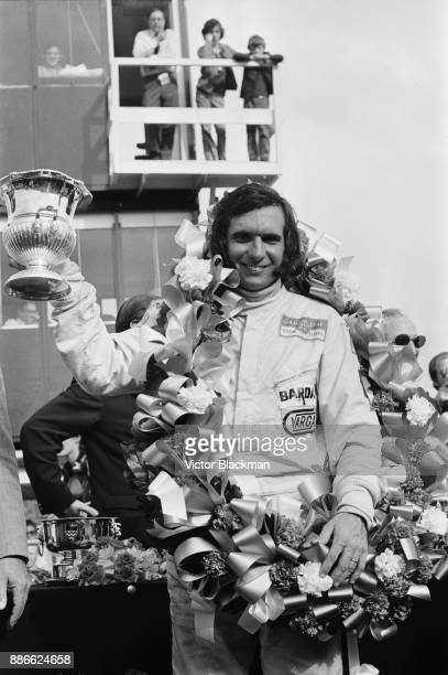 Brazilian racing driver Emerson Fittipaldi wins the Formula Two Hilton Transport Trophy driving his Lotus 69 Cosworth FVA Team Bardahl at Crystal...